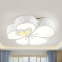 Modern White LED Ceiling Mount Light Butterfly Acrylic Flush Light with White Lighting/Third Gear for Hallway