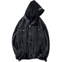 Guys Basic Simple Plain Patched Hooded Long Sleeve Button Closure Casual Loose Denim Coat Jacket