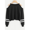 Chic Simple Striped Long Sleeve Cold Shoulder Cropped Black Sweatshirt