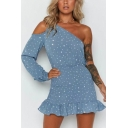 Summer Chic Vintage Blue Polka Dot Printed One Shoulder Ruffled Hem Mini Bodycon Dress