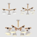 Nordic Style Bowl Pendant Light Metal 3/5/8 Lights White Chandelier for Bedroom Living Room