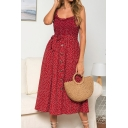 Summer Chic Polka Dot Printed Ruffled Hem Tied Waist Button Front Midi A-Line Strap Dress