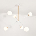 Contemporary Spherical Chandelier Light Amber/Clear/Cream/Sliver/Smoke Glass 6/8 Heads Suspension Light for Restaurant