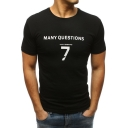 Simple Number 7 Letter MANY QUESTIONS Print Round Neck Short Sleeve Fitted Cotton Tee