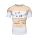 Summer Simple Letter LA VIE ET LA MER Apricot and White Colorblock Round Neck Short Sleeve Tee