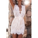 Womens Chic Lace Panel V-Neck Sleeveless Tied Waist Mini White Sheath Dress