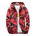 Mens New Stylish Cool Camouflage Pattern Hooded Long Sleeve Zip Up Sport Lightweight Jacket Coat