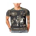 Summer New Stylish 3D Knight Pattern Round Neck Short Sleeve Black T-Shirt