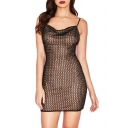 Womens Sexy Black Sheer Grid Open Back Sleeveless Mini Bodycon Slip Dress