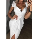 Summer Vintage Square Neck Ruffled Hem Tied Waist Button Down White Crochet Midi Bodycon Dress