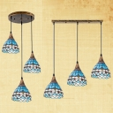 Mediterranean Style Blue Suspension Light Domed Shade 3 Lights Stained Glass Hanging Light for Bar