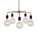 Industrial Brass Pendant Lamp Bare Bulb 5 Lights Clear Glass Chandelier Light for Living Room