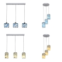 Drum Shade Restaurant Pendant Light Glass 3 Lights Modern Style Island Lamp in Blue/Yellow