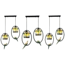 Stained Glass Grid House Pendant Light with Pigeon Balcony 2 Lights Tiffany Vintage Island Light