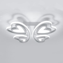 Butterfly LED Semi Flush Mount Light Cartoon Metal Ceiling Fixture in White for Girl Bedroom