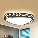 Little Feet Bedroom Ceiling Lamp Acrylic Kids Black/White LED Flush Ceiling Light in Warm/White