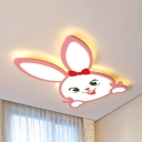 Animal Bow Rabbit Ceiling Mount Light Acrylic LED Flush Light in Warm/White for Living Room
