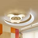 Acrylic Smile Rabbit Ceiling Light Kid Bedroom Cartoon LED Flush Mount Light with White/Yellow Lighting