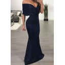 Women's Sexy Simple Plain Plunging V-Neck Bodycon Floor Length Fishtail Evening Dress