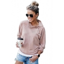 Trendy Solid Color Button Embellished Oblique Stand Collar Long Sleeve Pink Sweatshirt