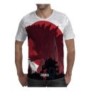 Mens Popular King of the Monsters 3D Animal Pattern Round Neck Short Sleeve T-Shirt
