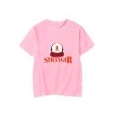 Hot Popular Letter STRANGER Hat Pattern Round Neck Short Sleeve T-Shirt