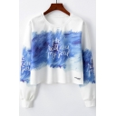 Cool Unique Brush Letter MY SOUL Pattern Round Neck Long Sleeve Cropped White Sweatshirt