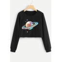 Girls Funny Cartoon Planet Print Basic Round Neck Long Sleeve Crop Black Sweatshirt