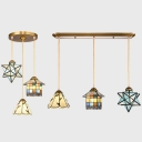 Tiffany Vintage Stylish Pendant Light 3 Heads Stained Glass Hanging Light in Brass for Child Bedroom