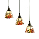 Bead/Petal/Sunflower Shade Pendant Light 3 Lights Vintage Stylish Stained Glass Ceiling Lamp for Cafe Bar