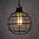 Dining Table Globe Cage Hanging Light Metal 1 Light American Rustic Black Suspension Light