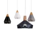 Modern Diamond Pendant Light Aluminum 1 Light Black/Gray/White Hanging Light for Restaurant