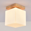 White Cube LED Ceiling Flush Light 1 Head Simple Style Glass E27 Ceiling Light for Bedroom