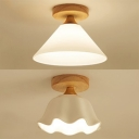 Frosted Glass Cone/Flower Ceiling Light 1 Light Contemporary Flushmount Light in White for Bedroom