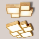 Wood Square LED Ceiling Lamp Child Bedroom 4/7 Heads Creative Flush Mount Light in Warm/White