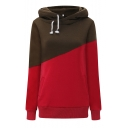 Fashion Two-Tone Green and Red Color Block Long Sleeve Casual Drawstring Hoodie
