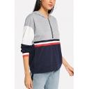 Womens Cool Color Block Simple Stripe Printed Long Sleeve Half-Zip Light Grey Hoodie