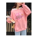 Cute Cartoon Pink Panther Print Basic Long Sleeve Loose Casual Hoodie for Girls