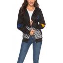 Fashion Checkerboard Print Colorblock Long Sleeve Zip Up Black Hoodie