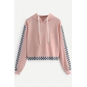 Chic Checkerboard Patched Long Sleeve Pink Loose Casual Pullover Cropped Hoodie
