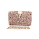 Stylish Plain Metal Leaf Embellishment Glitter Evening Clutch Bag 19*6*12.5 CM