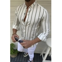 Guys Trendy Classic Vertical Stripe Printed Stand Collar Long Sleeve Slim Fit Button Shirt