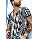Guys New Stylish Black and White Vertical Stripe Printed Lapel Collar Loose Fit Beach Camp Shirt