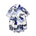 Summer Vintage Wave Carp Pattern Short Sleeve White Cotton Casual Loose Hawaiian Shirt