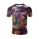 Cool 3D Comic Figure Print Round Neck Short Sleeve T-Shirt