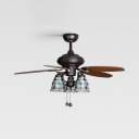 Bell Shade Hotel Ceiling Fan with 5 Blade Glass 3 Heads Antique Remote Control Semi Flush Ceiling Light