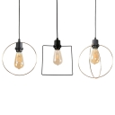 Antique Circle/Double Circle/Square Hanging Light 1/3 Pack 1 Light Metal Suspension Light in Black for Hallway Foyer