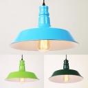 Barn Shade Factory Pendant Light Metal 1 Light Industrial Pendant Lamp in Blue/Dark Green/Lighting Green