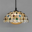 Tiffany Peacock Hanging Light with Colorful Beads 1 Light Shell Pendant Light in Beige for Study Room