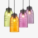 Antique Stylish Jar Pendant Lamp Glass 4 Heads Multi-Color Hanging Light for Bar Restaurant